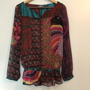 Desigual sheer button down top size 38